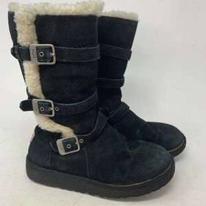 UGG Australia Tall Black Leather 3 Buckle Boots 4